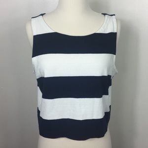 {J Crew} Rugby Striped Cropped Cotton Tank Top